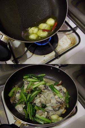 オリーブオイルとガーリック、小松菜と牡蠣と舞茸のパスタ