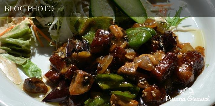 水天宮前茅場町の貸切ができる洋風居酒屋プラナジラソルのまかない豚肉とキノコの中華風炒め