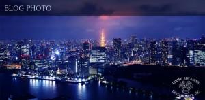 勝どきのタワーマンション最上階から見る東京湾の夜景