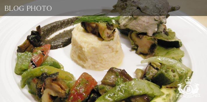 銀座京橋フレンチイタリアン居酒屋東京バルバリのバジル風味の南仏野菜のグリルとタマネギとローリエのフランサザエのソテーと肝のソース