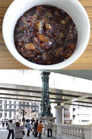 キウィフルーツとブルーベリーのホットバタージャム、日本橋麒麟の像