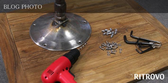 リトローボチーク無垢材寄木天版に鬼目ナットを加工