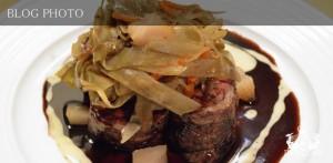 京橋フレンチイタリアン居酒屋東京バルバリの短角牛ロースのルーローの炭火焼ごぼうと人参のエチュベ赤ワインソースとベアルネーズソース